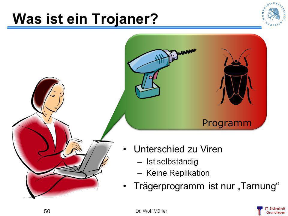 IT-Sicherheit Grundlagen Dr. Wolf Müller 50 Was ist ein Trojaner? Programm Unterschied zu Viren –Ist selbständig –Keine Replikation Trägerprogramm ist