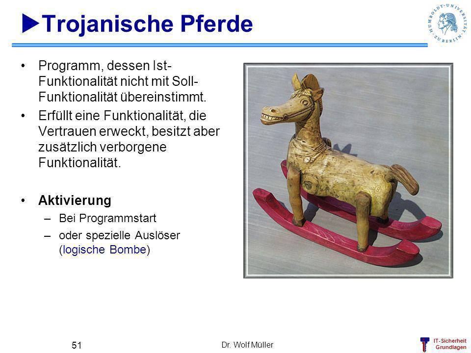 IT-Sicherheit Grundlagen Dr. Wolf Müller 51 Trojanische Pferde Programm, dessen Ist- Funktionalität nicht mit Soll- Funktionalität übereinstimmt. Erfü