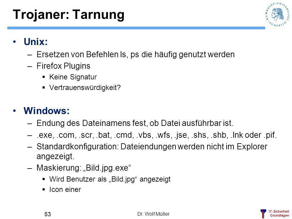 IT-Sicherheit Grundlagen Trojaner: Tarnung Unix: –Ersetzen von Befehlen ls, ps die häufig genutzt werden –Firefox Plugins Keine Signatur Vertrauenswürdigkeit.