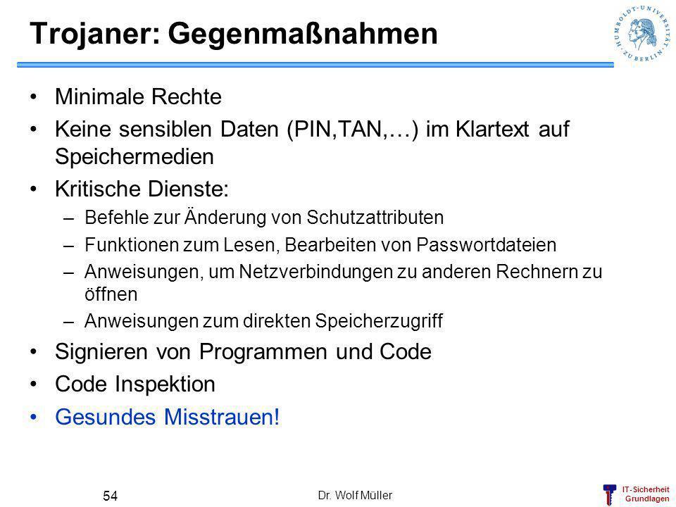 IT-Sicherheit Grundlagen Dr. Wolf Müller 54 Trojaner: Gegenmaßnahmen Minimale Rechte Keine sensiblen Daten (PIN,TAN,…) im Klartext auf Speichermedien
