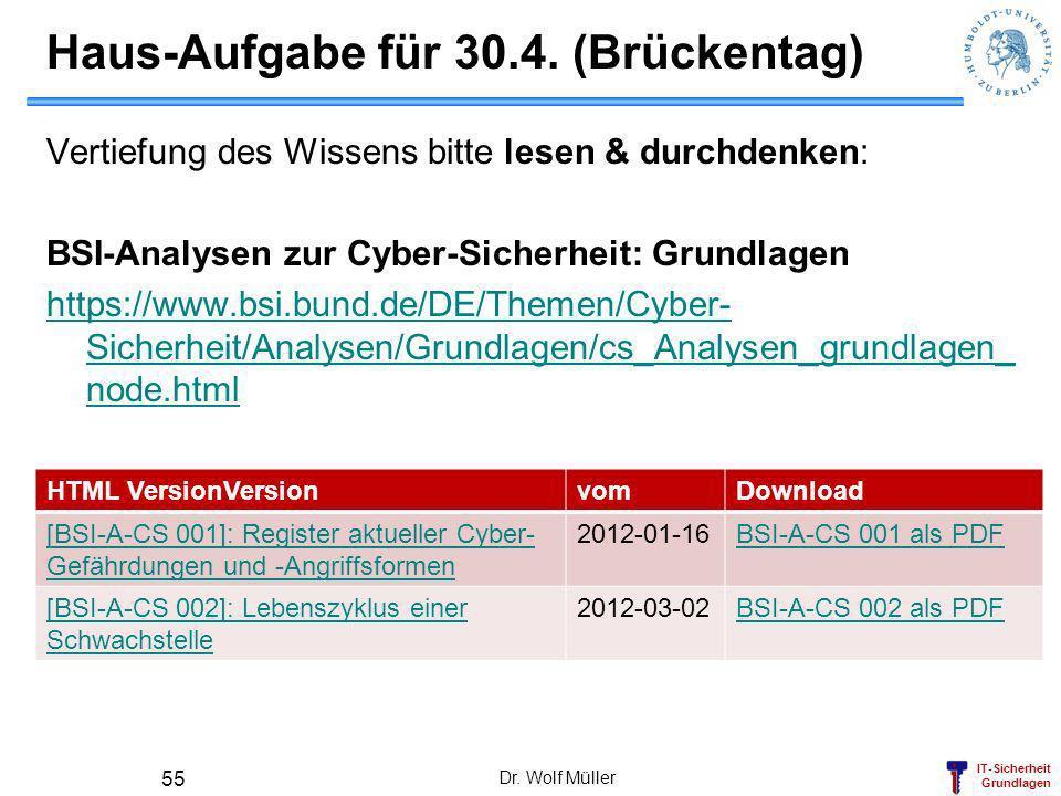 IT-Sicherheit Grundlagen Haus-Aufgabe für 30.4. (Brückentag) Vertiefung des Wissens bitte lesen & durchdenken: BSI-Analysen zur Cyber-Sicherheit: Grun