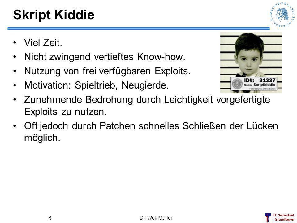 IT-Sicherheit Grundlagen Dr. Wolf Müller 6 Skript Kiddie Viel Zeit. Nicht zwingend vertieftes Know-how. Nutzung von frei verfügbaren Exploits. Motivat