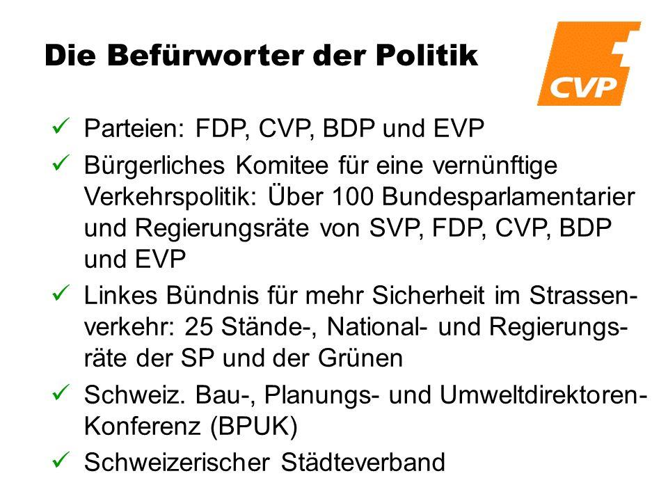 Die Befürworter der Politik Parteien: FDP, CVP, BDP und EVP Bürgerliches Komitee für eine vernünftige Verkehrspolitik: Über 100 Bundesparlamentarier und Regierungsräte von SVP, FDP, CVP, BDP und EVP Linkes Bündnis für mehr Sicherheit im Strassen- verkehr: 25 Stände-, National- und Regierungs- räte der SP und der Grünen Schweiz.
