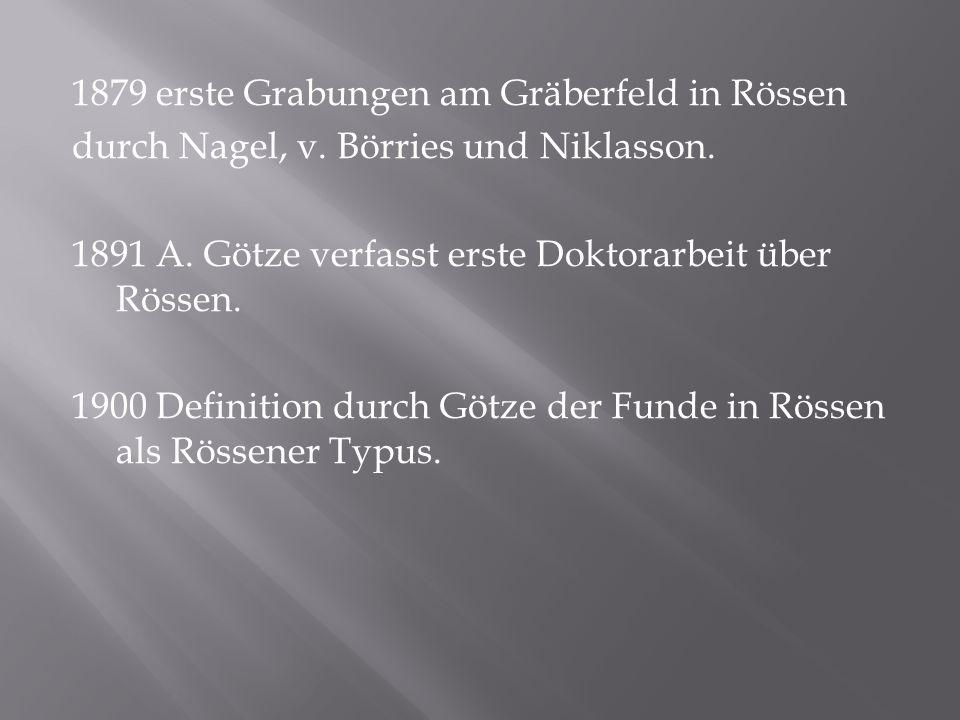 1879 erste Grabungen am Gräberfeld in Rössen durch Nagel, v. Börries und Niklasson. 1891 A. Götze verfasst erste Doktorarbeit über Rössen. 1900 Defini