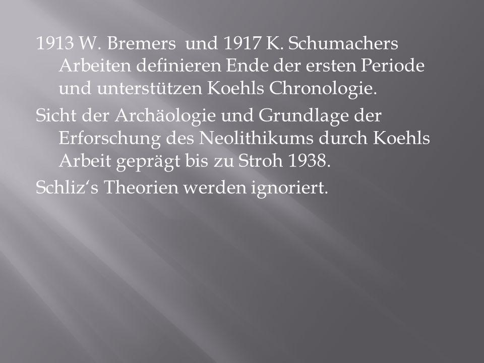 1913 W. Bremers und 1917 K. Schumachers Arbeiten definieren Ende der ersten Periode und unterstützen Koehls Chronologie. Sicht der Archäologie und Gru