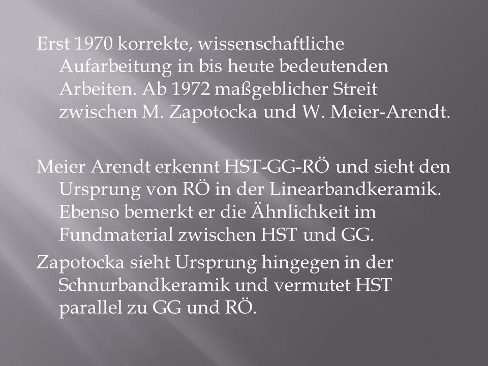 Erst 1970 korrekte, wissenschaftliche Aufarbeitung in bis heute bedeutenden Arbeiten. Ab 1972 maßgeblicher Streit zwischen M. Zapotocka und W. Meier-A