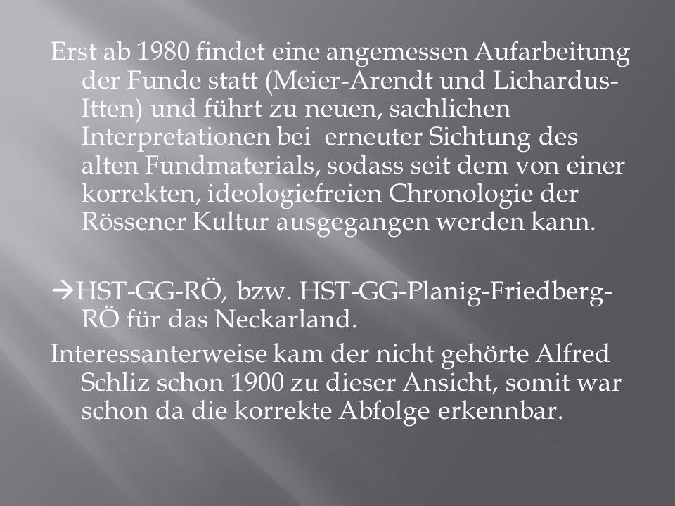 Erst ab 1980 findet eine angemessen Aufarbeitung der Funde statt (Meier-Arendt und Lichardus- Itten) und führt zu neuen, sachlichen Interpretationen b