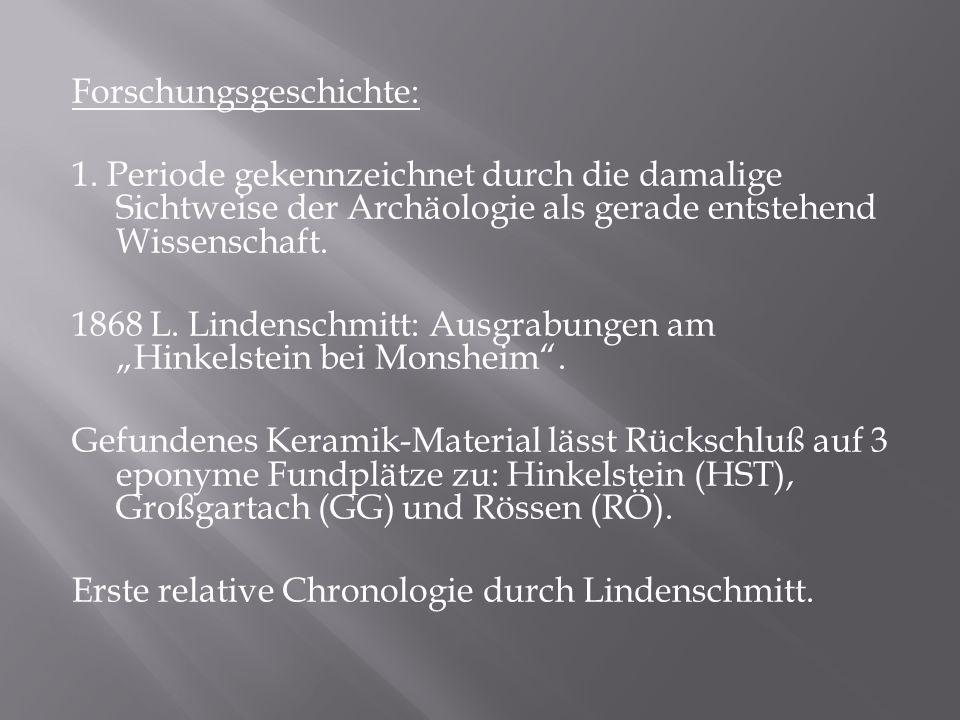 Forschungsgeschichte: 1. Periode gekennzeichnet durch die damalige Sichtweise der Archäologie als gerade entstehend Wissenschaft. 1868 L. Lindenschmit