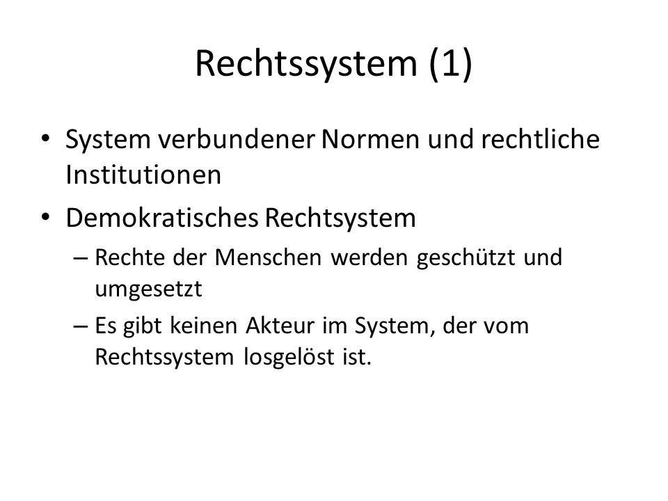Rechtssystem (1) System verbundener Normen und rechtliche Institutionen Demokratisches Rechtsystem – Rechte der Menschen werden geschützt und umgesetz