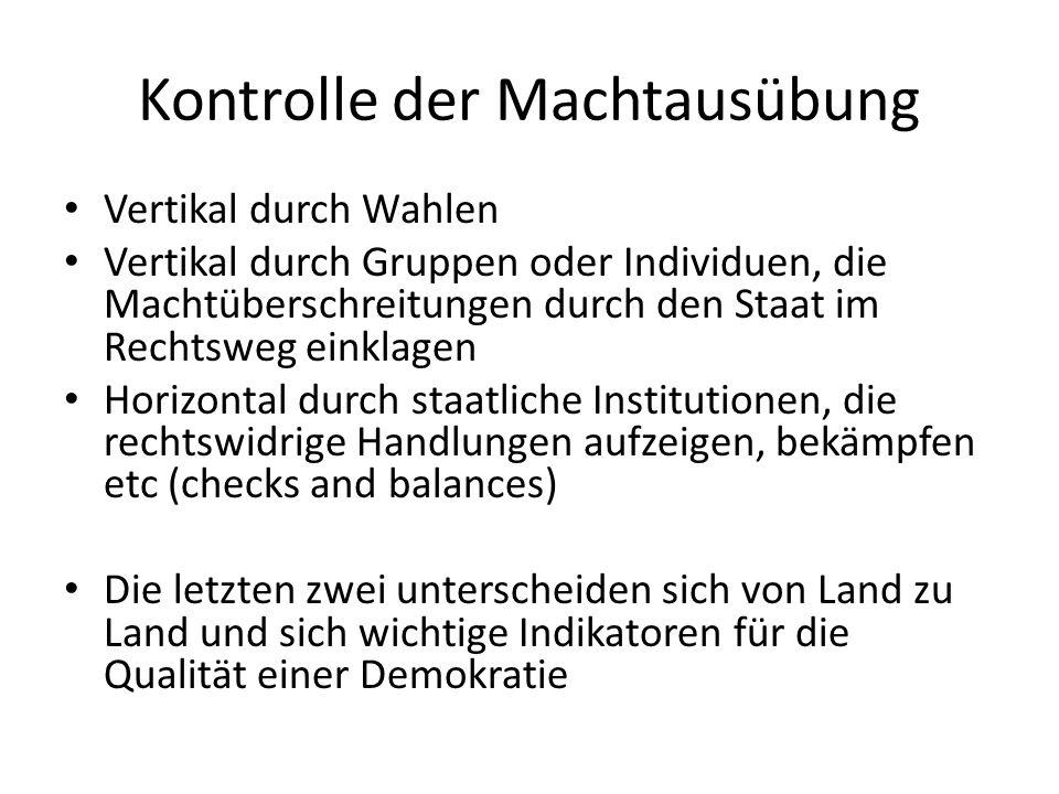 Kontrolle der Machtausübung Vertikal durch Wahlen Vertikal durch Gruppen oder Individuen, die Machtüberschreitungen durch den Staat im Rechtsweg einkl