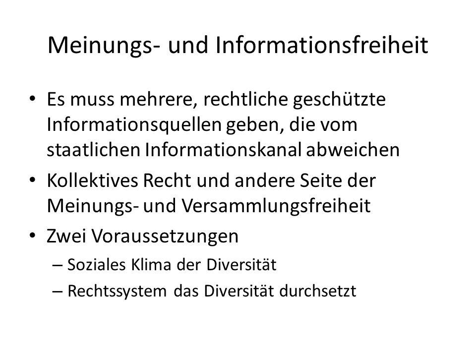 Meinungs- und Informationsfreiheit Es muss mehrere, rechtliche geschützte Informationsquellen geben, die vom staatlichen Informationskanal abweichen K