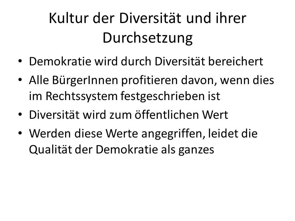 Kultur der Diversität und ihrer Durchsetzung Demokratie wird durch Diversität bereichert Alle BürgerInnen profitieren davon, wenn dies im Rechtssystem
