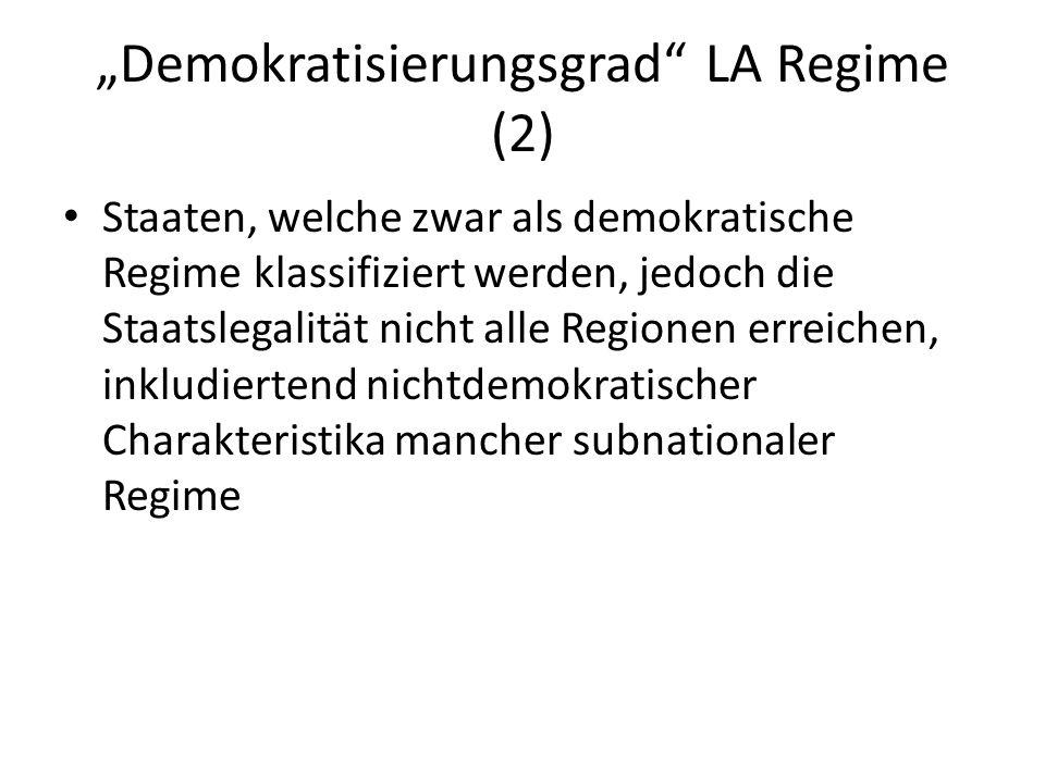 Demokratisierungsgrad LA Regime (2) Staaten, welche zwar als demokratische Regime klassifiziert werden, jedoch die Staatslegalität nicht alle Regionen