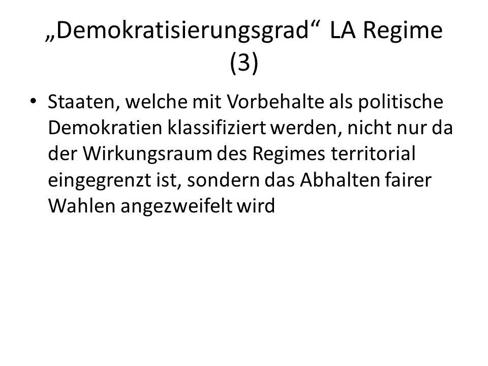 Demokratisierungsgrad LA Regime (3) Staaten, welche mit Vorbehalte als politische Demokratien klassifiziert werden, nicht nur da der Wirkungsraum des