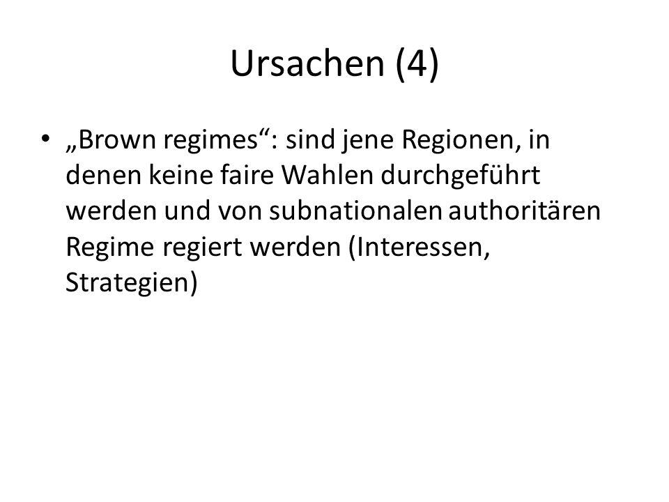 Ursachen (4) Brown regimes: sind jene Regionen, in denen keine faire Wahlen durchgeführt werden und von subnationalen authoritären Regime regiert werd