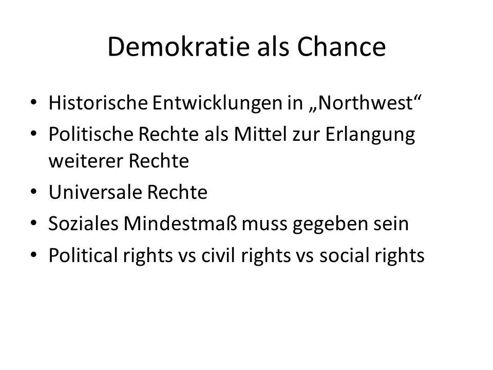 Demokratie als Chance Historische Entwicklungen in Northwest Politische Rechte als Mittel zur Erlangung weiterer Rechte Universale Rechte Soziales Min