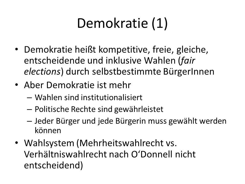 Demokratie (1) Demokratie heißt kompetitive, freie, gleiche, entscheidende und inklusive Wahlen (fair elections) durch selbstbestimmte BürgerInnen Abe