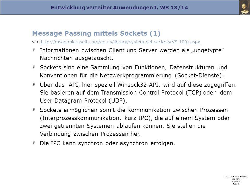 Entwicklung verteilter Anwendungen I, WS 13/14 Prof. Dr. Herrad Schmidt WS 13/14 Kapitel 4 Folie 2 Message Passing mittels Sockets (1) s.a. http://msd