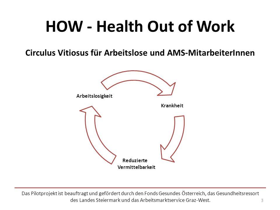 HOW - Health Out of Work Das Pilotprojekt ist beauftragt und gefördert durch den Fonds Gesundes Österreich, das Gesundheitsressort des Landes Steiermark und das Arbeitsmarktservice Graz-West.