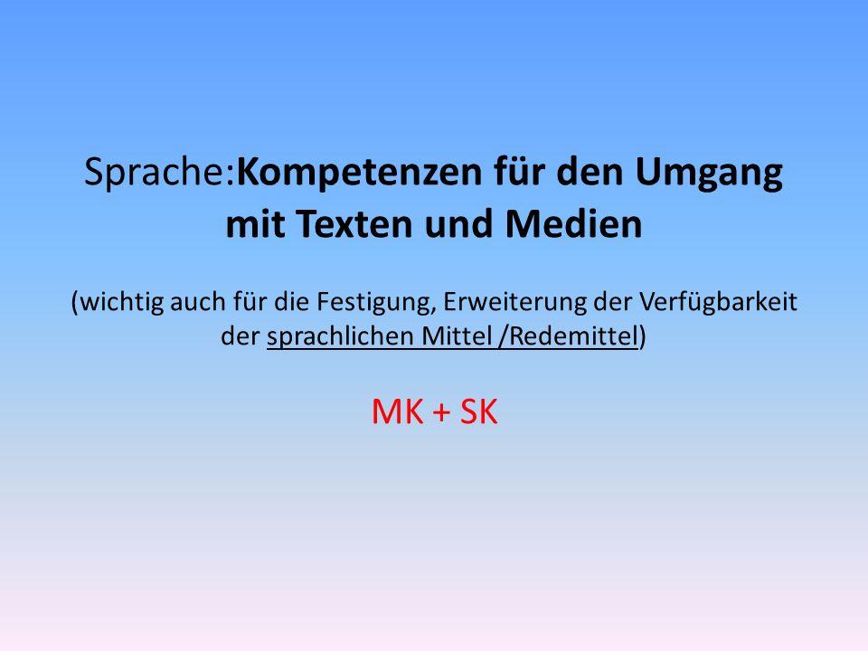 Sprache:Kompetenzen für den Umgang mit Texten und Medien (wichtig auch für die Festigung, Erweiterung der Verfügbarkeit der sprachlichen Mittel /Redem