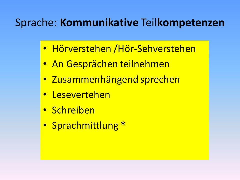 Sprache: Kommunikative Teilkompetenzen Hörverstehen /Hör-Sehverstehen An Gesprächen teilnehmen Zusammenhängend sprechen Lesevertehen Schreiben Sprachm