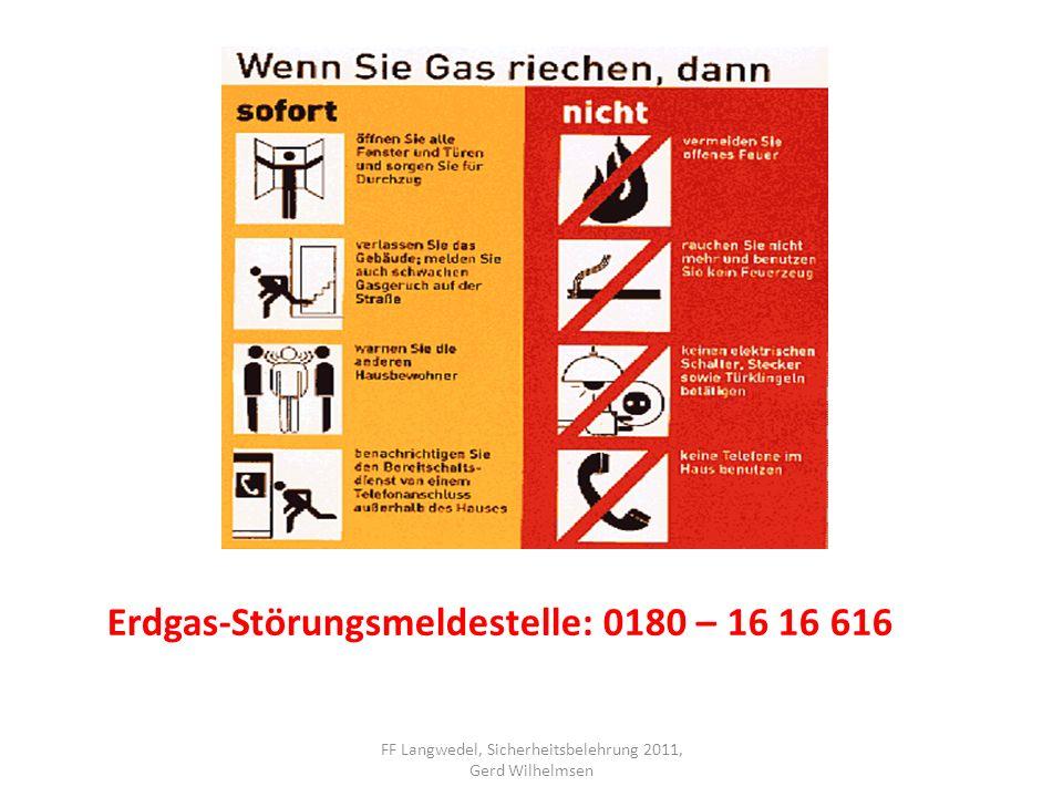 FF Langwedel, Sicherheitsbelehrung 2011, Gerd Wilhelmsen Erdgas-Störungsmeldestelle: 0180 – 16 16 616