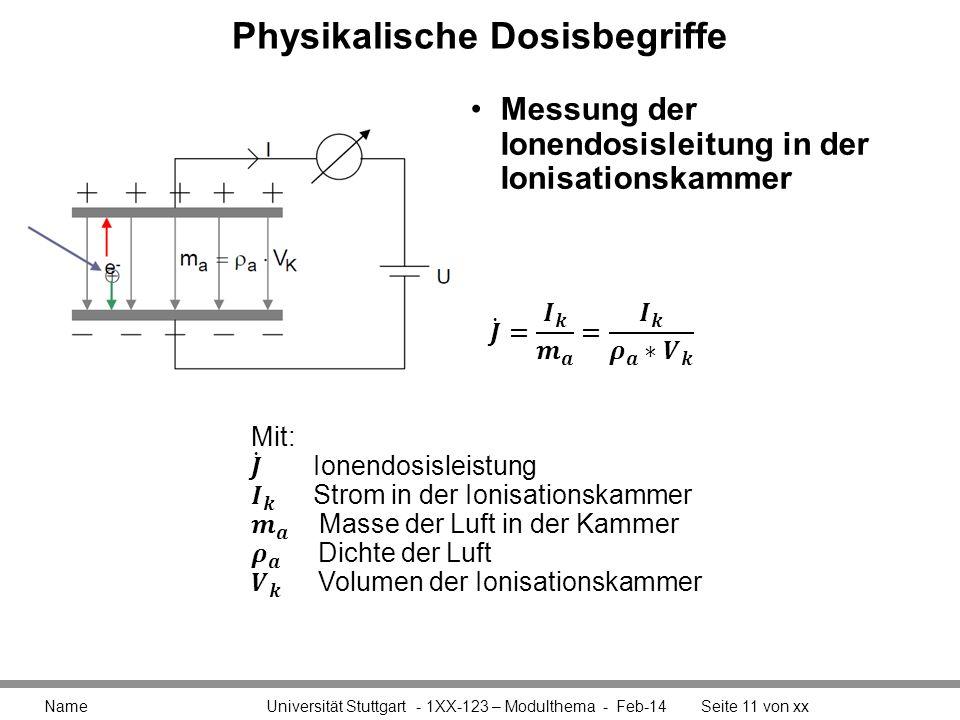 Physikalische Dosisbegriffe Messung der Ionendosisleitung in der Ionisationskammer Name Universität Stuttgart - 1XX-123 – Modulthema - Feb-14Seite 11