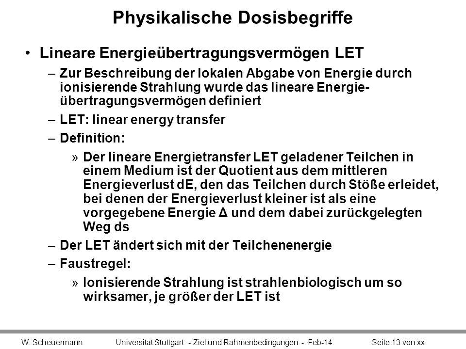 Physikalische Dosisbegriffe Lineare Energieübertragungsvermögen LET –Zur Beschreibung der lokalen Abgabe von Energie durch ionisierende Strahlung wurd