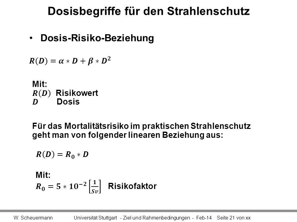 Dosisbegriffe für den Strahlenschutz W. Scheuermann Universität Stuttgart - Ziel und Rahmenbedingungen - Feb-14Seite 21 von xx Für das Mortalitätsrisi