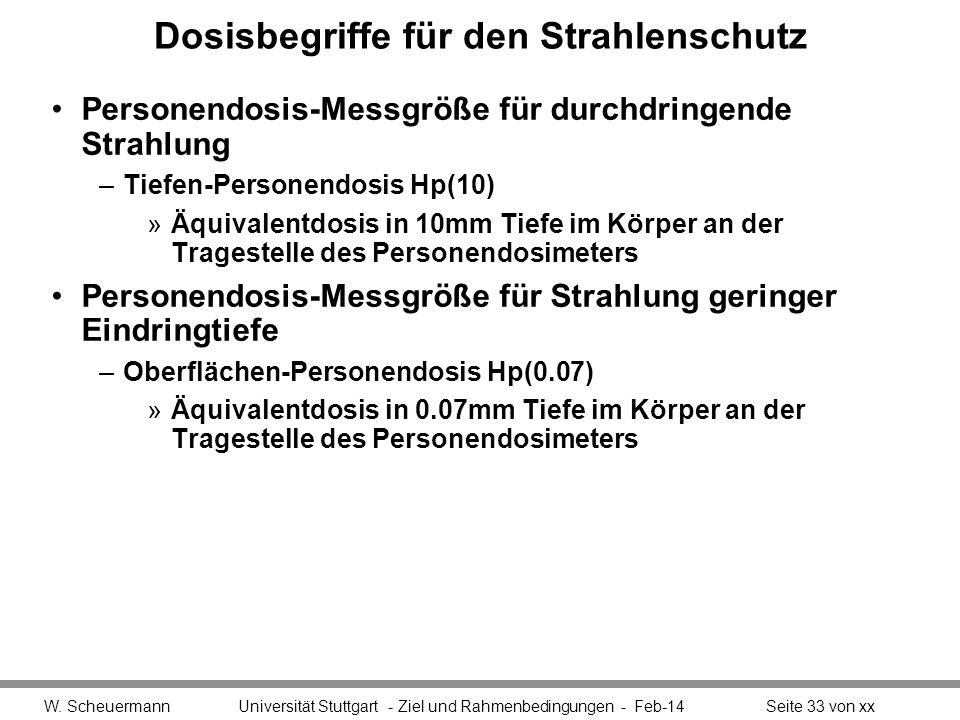 Dosisbegriffe für den Strahlenschutz Personendosis-Messgröße für durchdringende Strahlung –Tiefen-Personendosis Hp(10) »Äquivalentdosis in 10mm Tiefe