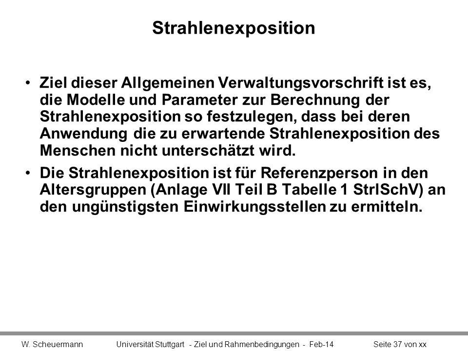 Strahlenexposition Ziel dieser Allgemeinen Verwaltungsvorschrift ist es, die Modelle und Parameter zur Berechnung der Strahlenexposition so festzulege