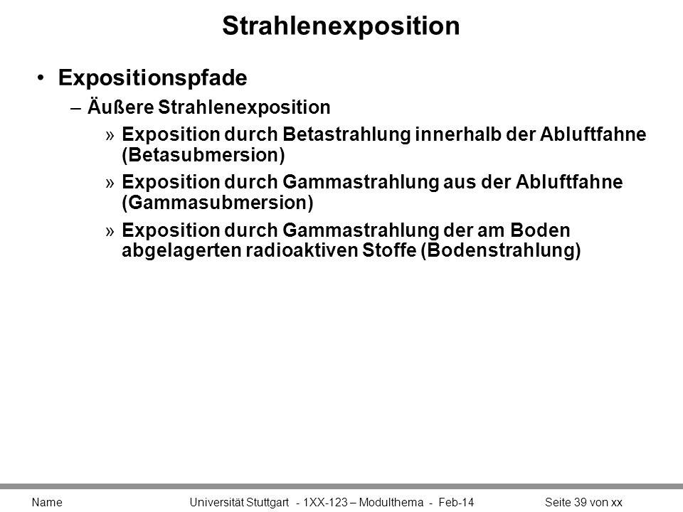 Strahlenexposition Expositionspfade –Äußere Strahlenexposition »Exposition durch Betastrahlung innerhalb der Abluftfahne (Betasubmersion) »Exposition