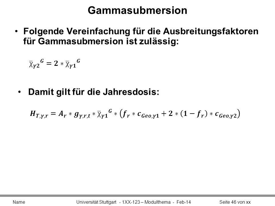 Gammasubmersion Folgende Vereinfachung für die Ausbreitungsfaktoren für Gammasubmersion ist zulässig: Name Universität Stuttgart - 1XX-123 – Modulthem