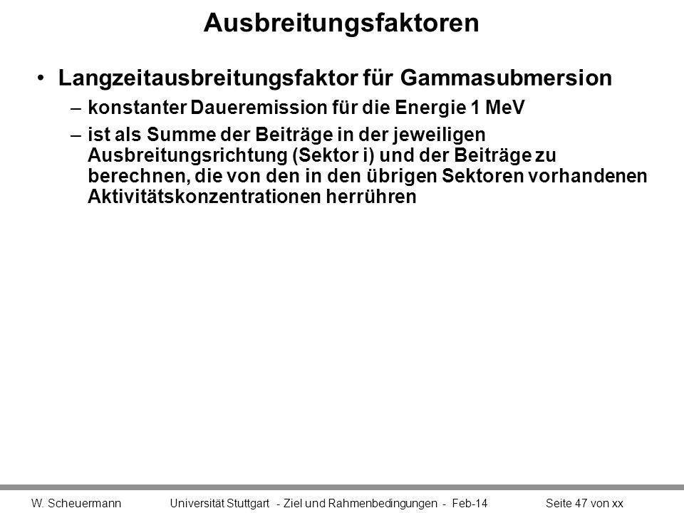Ausbreitungsfaktoren Langzeitausbreitungsfaktor für Gammasubmersion –konstanter Daueremission für die Energie 1 MeV –ist als Summe der Beiträge in der