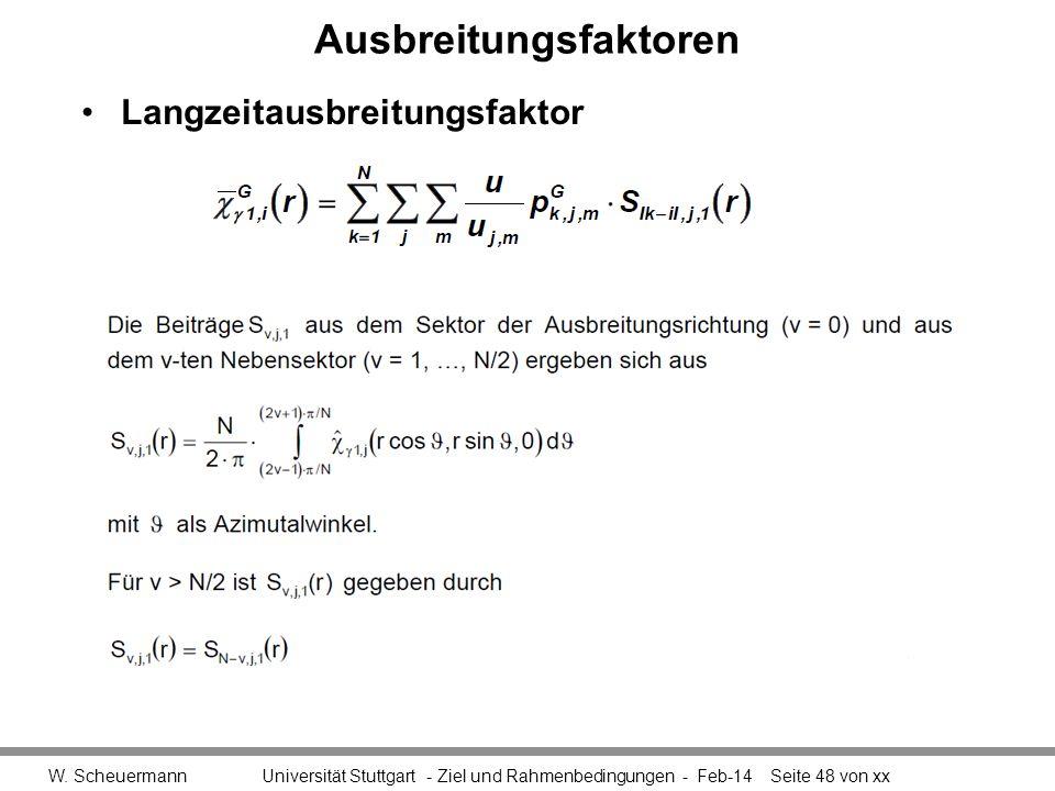 Ausbreitungsfaktoren W. Scheuermann Universität Stuttgart - Ziel und Rahmenbedingungen - Feb-14Seite 48 von xx Langzeitausbreitungsfaktor