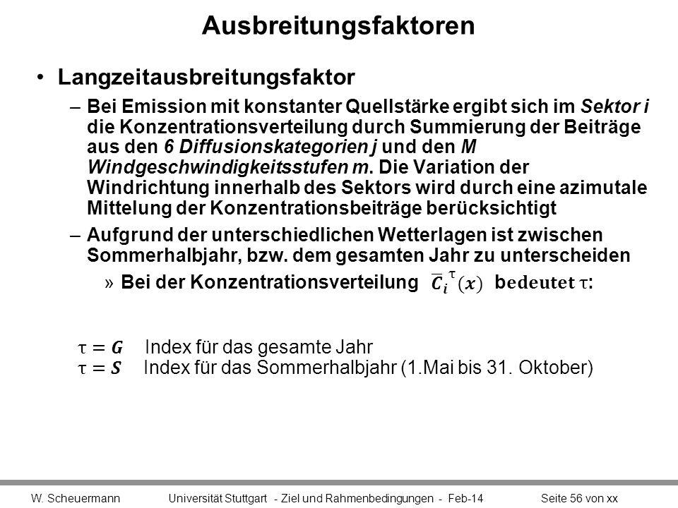 Ausbreitungsfaktoren W. Scheuermann Universität Stuttgart - Ziel und Rahmenbedingungen - Feb-14Seite 56 von xx