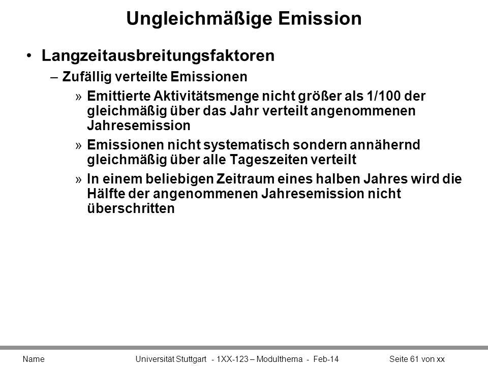 Ungleichmäßige Emission Langzeitausbreitungsfaktoren –Zufällig verteilte Emissionen »Emittierte Aktivitätsmenge nicht größer als 1/100 der gleichmäßig