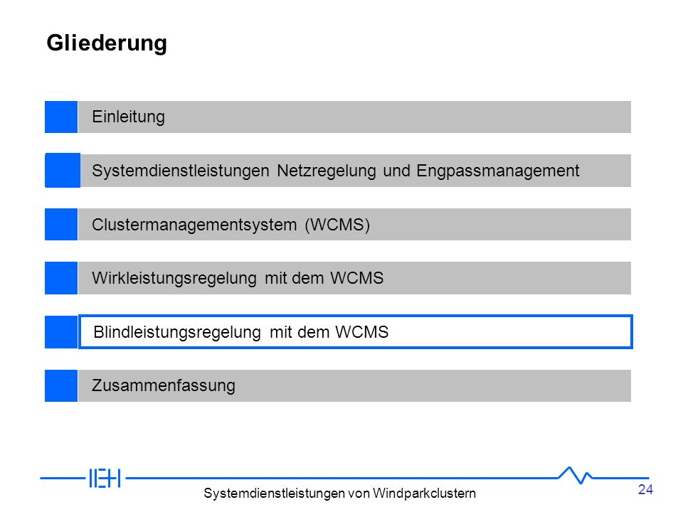 24 Systemdienstleistungen von Windparkclustern BegriffsdefinitionenEinleitungSystemdienstleistungen Netzregelung und EngpassmanagementClustermanagementsystem (WCMS)Wirkleistungsregelung mit dem WCMSNetzausbau und ÜbertragungstechnikZusammenfassung Gliederung Blindleistungsregelung mit dem WCMS