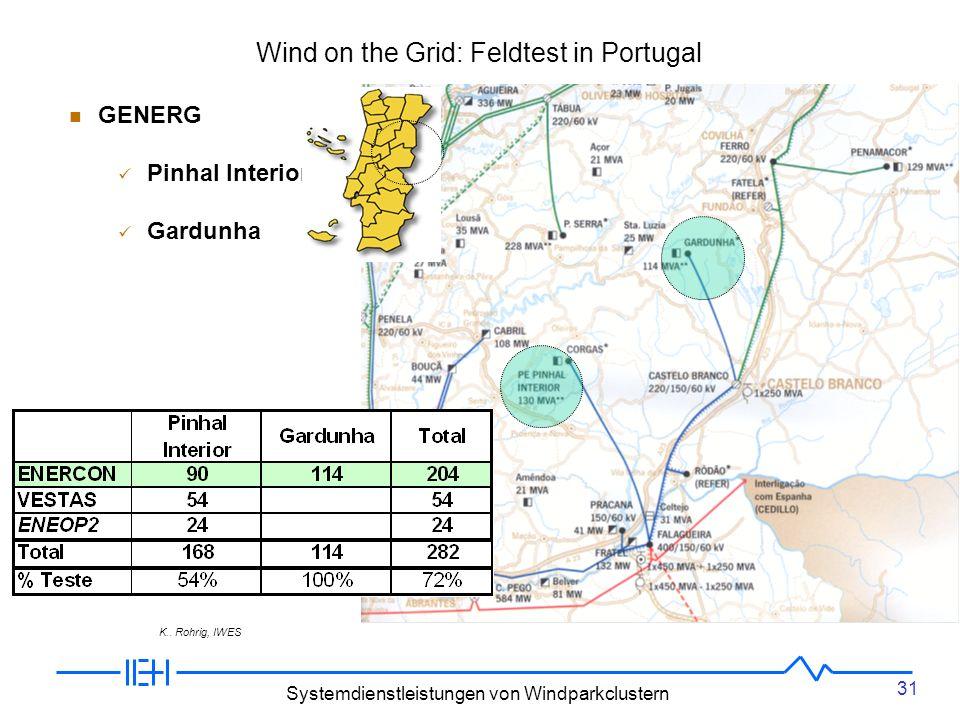 31 Systemdienstleistungen von Windparkclustern Cluster in Portugal GENERG Pinhal Interior Gardunha Wind on the Grid: Feldtest in Portugal K..