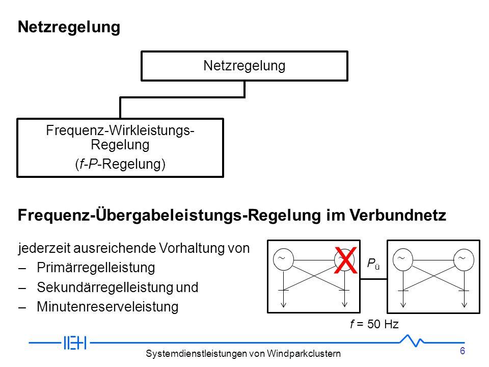 6 Systemdienstleistungen von Windparkclustern Netzregelung Frequenz-Wirkleistungs- Regelung (f-P-Regelung) Spannungs-Blindleistungs- regelung (U-Q-Regelung) Netzregelung PüPü jederzeit ausreichende Vorhaltung von –Primärregelleistung –Sekundärregelleistung und –Minutenreserveleistung Frequenz-Übergabeleistungs-Regelung im Verbundnetz f = 50 Hz X