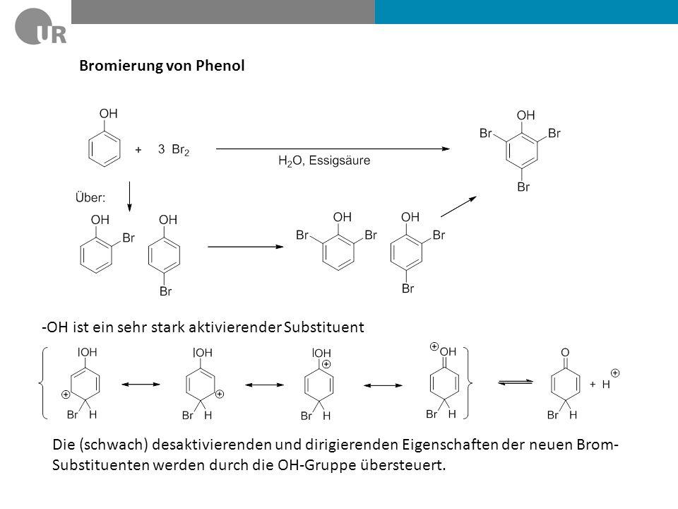 Bromierung von Phenol -OH ist ein sehr stark aktivierender Substituent Die (schwach) desaktivierenden und dirigierenden Eigenschaften der neuen Brom-