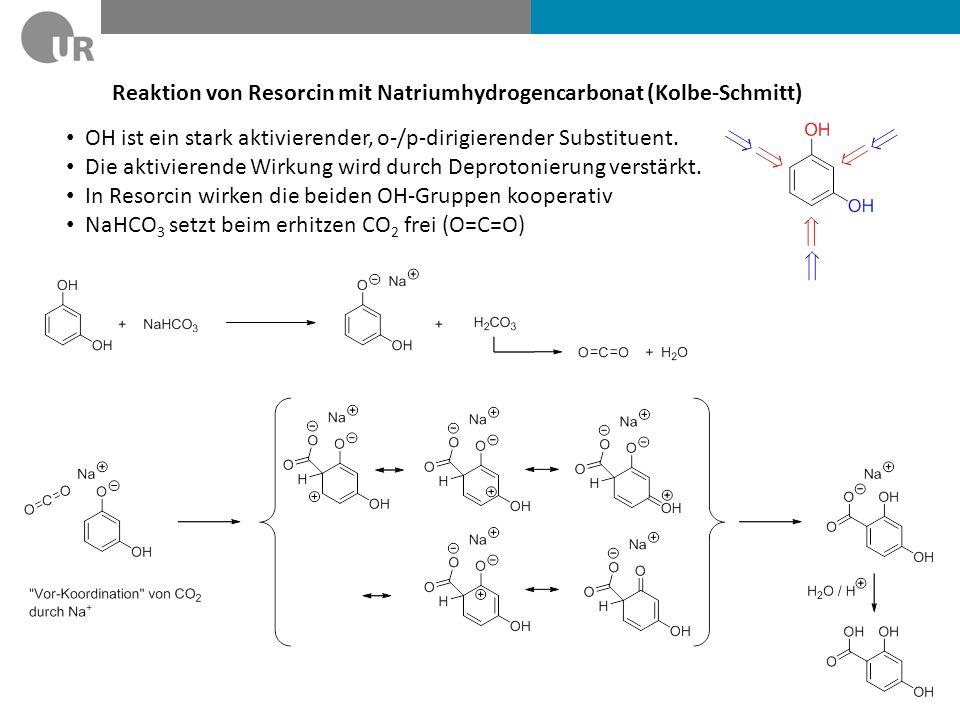 Reaktion von Resorcin mit Natriumhydrogencarbonat (Kolbe-Schmitt) OH ist ein stark aktivierender, o-/p-dirigierender Substituent. Die aktivierende Wir
