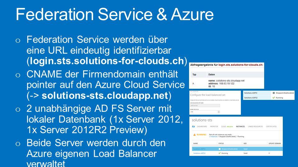 Federation Service & Azure o Federation Service werden über eine URL eindeutig identifizierbar (login.sts.solutions-for-clouds.ch) o CNAME der Firmend