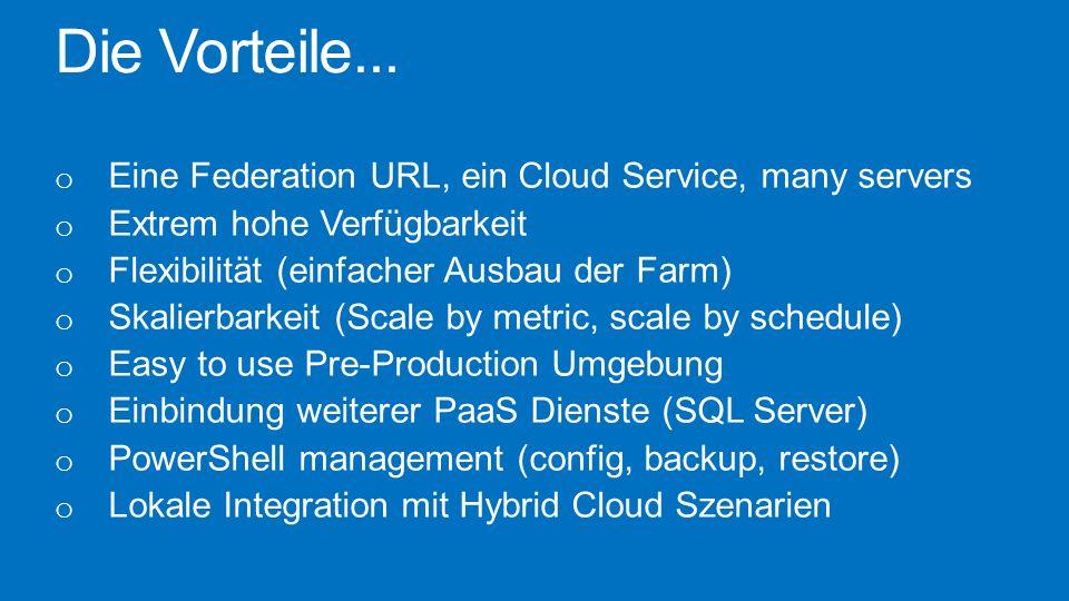 Die Vorteile... o Eine Federation URL, ein Cloud Service, many servers o Extrem hohe Verfügbarkeit o Flexibilität (einfacher Ausbau der Farm) o Skalie
