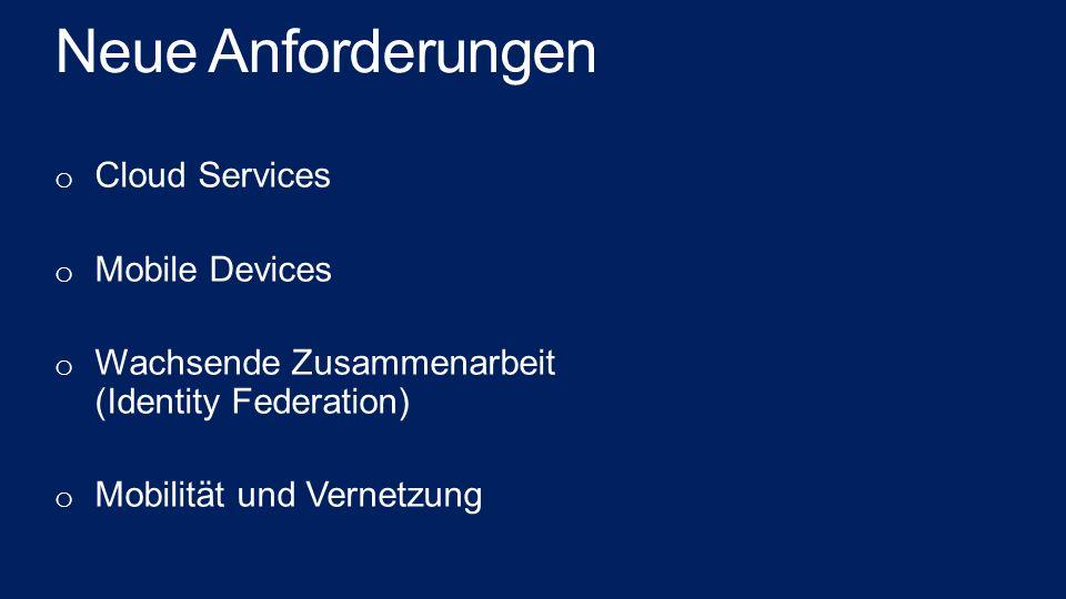 Neue Anforderungen o Cloud Services o Mobile Devices o Wachsende Zusammenarbeit (Identity Federation) o Mobilität und Vernetzung