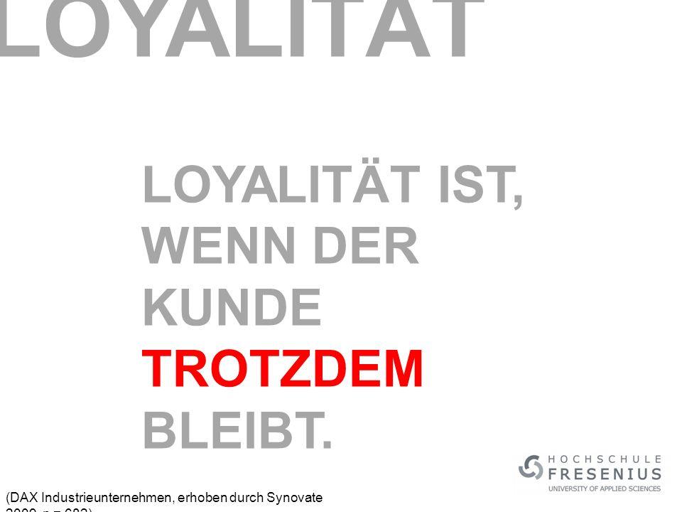(DAX Industrieunternehmen, erhoben durch Synovate 2009, n = 682) LOYALITÄT IST, WENN DER KUNDE TROTZDEM BLEIBT.