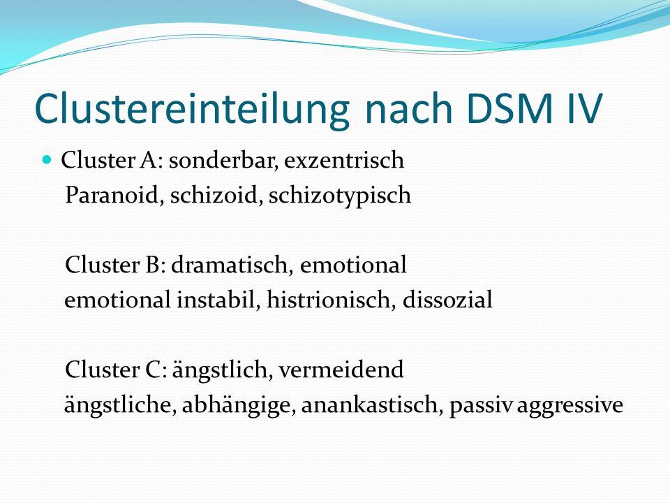 Clustereinteilung nach DSM IV Cluster A: sonderbar, exzentrisch Paranoid, schizoid, schizotypisch Cluster B: dramatisch, emotional emotional instabil, histrionisch, dissozial Cluster C: ängstlich, vermeidend ängstliche, abhängige, anankastisch, passiv aggressive