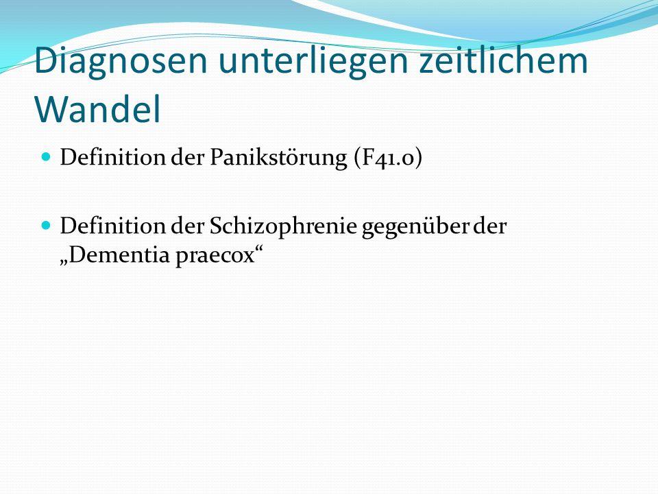 Diagnosen unterliegen zeitlichem Wandel Definition der Panikstörung (F41.0) Definition der Schizophrenie gegenüber der Dementia praecox