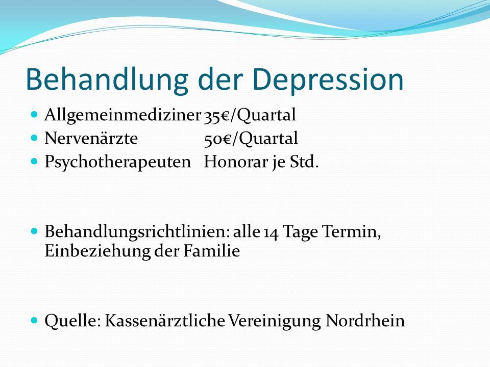 Behandlung der Depression Allgemeinmediziner 35/Quartal Nervenärzte 50/Quartal Psychotherapeuten Honorar je Std.