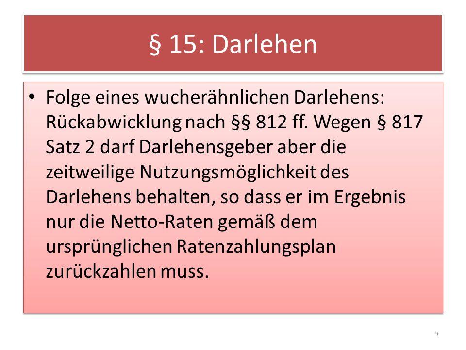 § 15: Darlehen Folge eines wucherähnlichen Darlehens: Rückabwicklung nach §§ 812 ff.